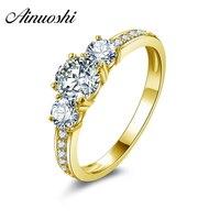 AINUOSHI 10 К одноцветное желтое золото обручение кольцо круглой огранки Имитация Алмазный Свадьба юбилей Anillos Мода обручальные кольца