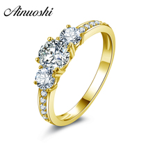 AINUOSHI 10k Solid Yellow Gold Engagement Ring Round Cut Simulated Diamond Wedding Anniversary Anillos Trendy Engagement Rings