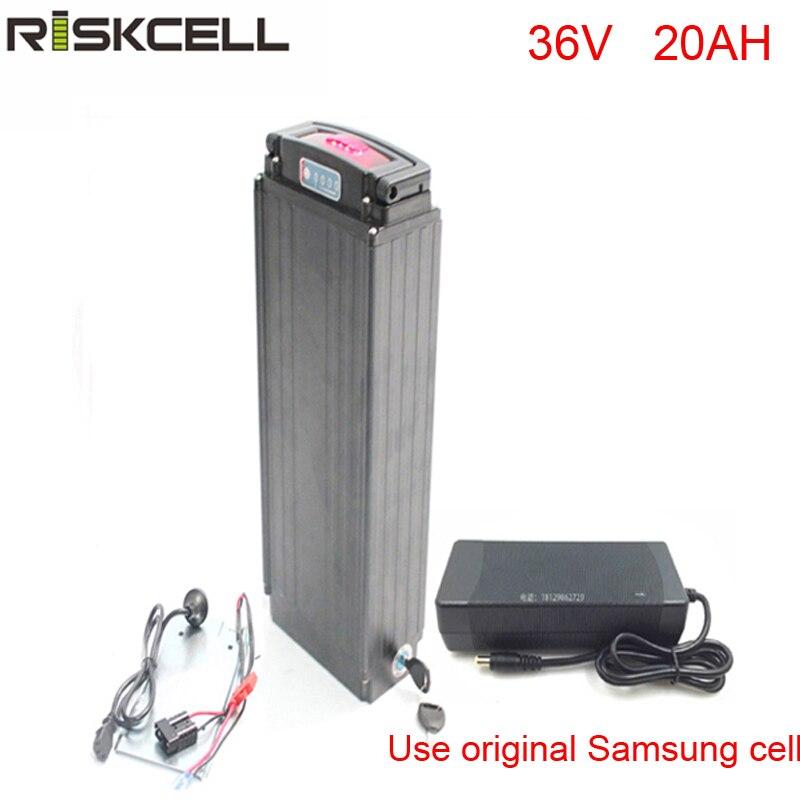 Cremagliera della parte posteriore di stile 36 v 20ah ebike batteria al litio pack per 36 v 750 w/1000 w bafang motore kit Per Samsung cellulare