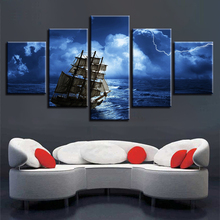 Decor Bedroom Or Living Room 5 Pieces HD Printing Ship On The Sea Sailing Night Scene Paintings Modular Canvas Pictures Wall Art