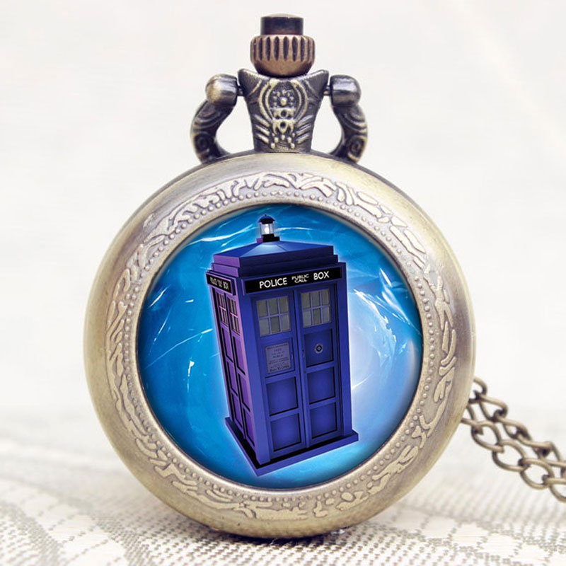 Popular Style Doctor Who Theme Police Box Design Old Antique Bronze Pendant Pocket Watch With Chain Necklace