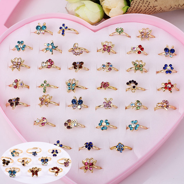 Wholesale Mixed Assorted Flower Gold Crystal Adjustable Rings Baby Kids Girls Mi
