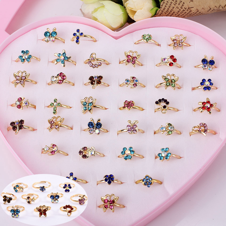 Wholesale 12pcs Mixed Assorted Flower Gold Crystal Adjustable Rings Baby Kids