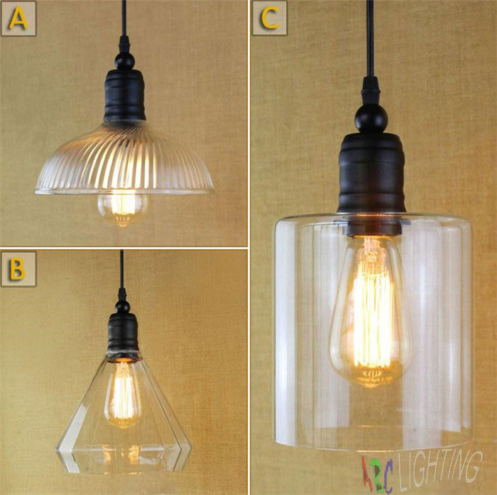 ФОТО Black Pendant Light Glass Metal Vintage Industrial Edison Bulb hanging lamp lampara colgante de techo lamparas de techo retro
