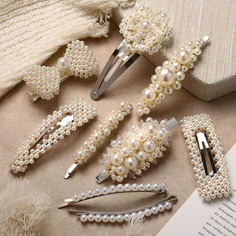 RE Fashion show imitation pearl hair clips for women silver snap bowknot hairpins romantic wedding female hair jewelry gifts P30