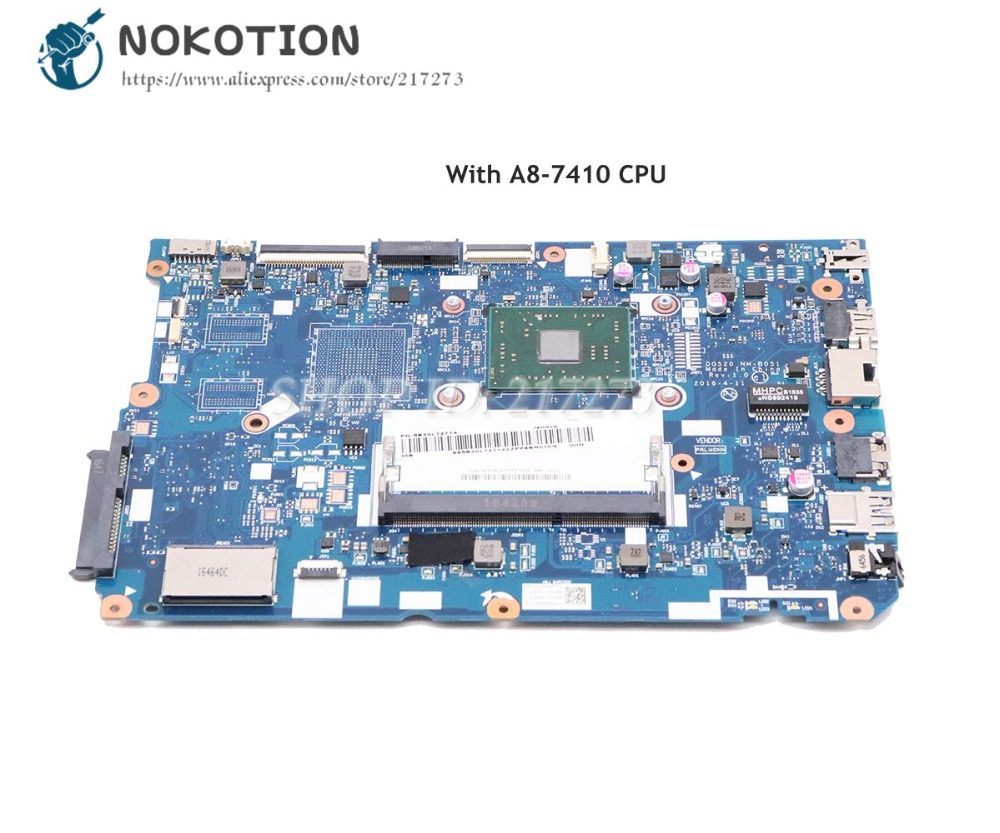 NOKOTION For <font><b>Lenovo</b></font> <font><b>Ideapad</b></font> <font><b>110</b></font>-15ACL Laptop <font><b>Motherboard</b></font> 5B20L72714 DG520 NM-B051 with A8-7410 CPU DDR3 image