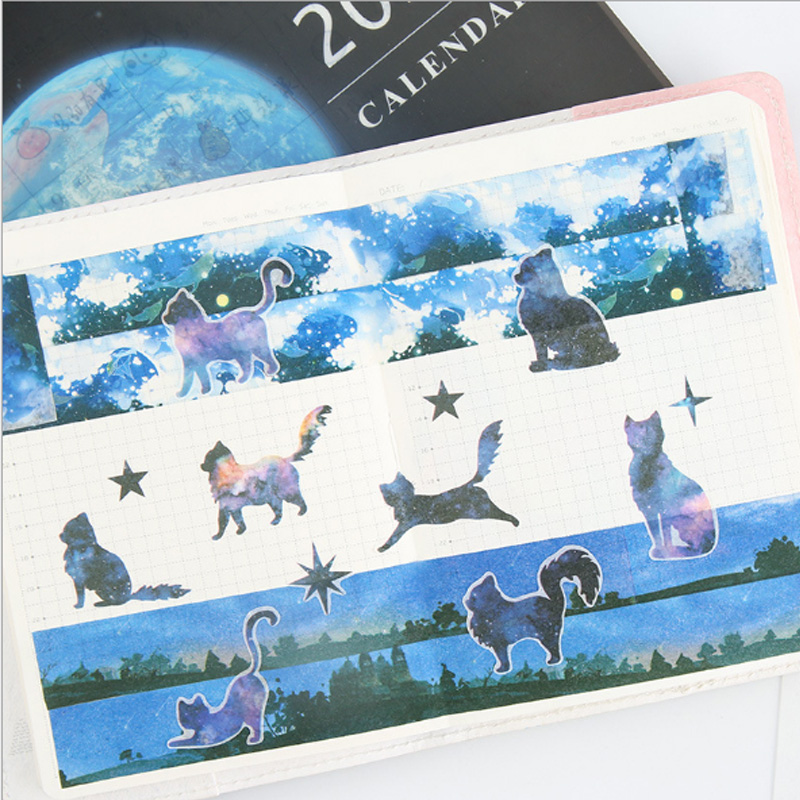 6 pcs pack Beautiful starry cat student Stickers Set Decorative Stationery Stickers Scrapbooking DIY Diary Album Stick Label in Stationery Stickers from Office School Supplies