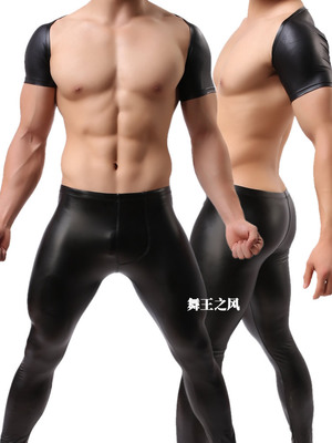 Fashion Black Faux Leather Man Sexy Designer Fitness Crop   Tank     Tops  /Gay Funny Compression Half Vest