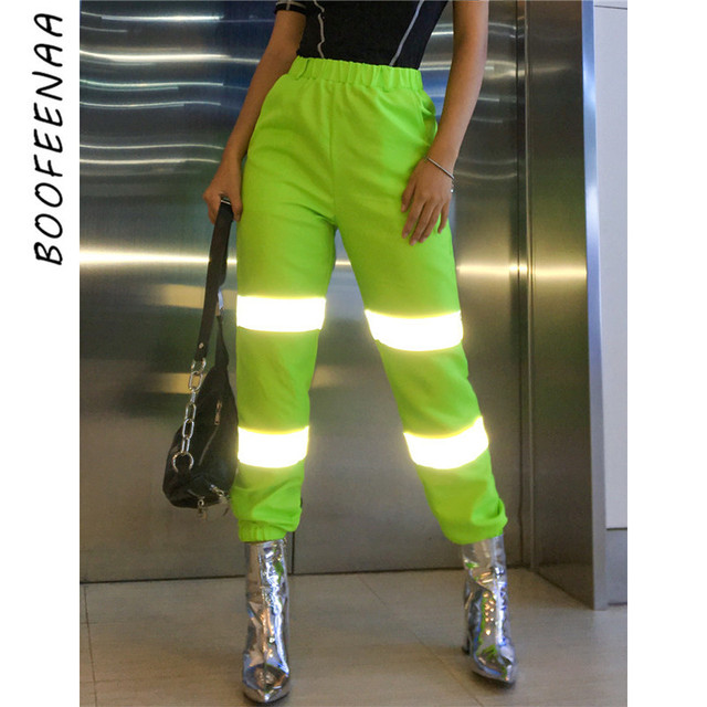 BOOFEENAA Neon Green Reflective Pants Women Streetwear Joggers High Waist Sweatpants Casual Loose Sports Trousers 2019 C87-AC71