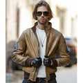 2017 New Men Vintage Brown Genuine A2 Leather Jacket Turn-down Collar Real Thick Cowhide Short Slim Fit Warm Coat FREE SHIPPING