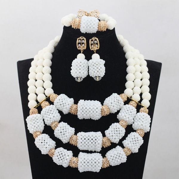Graceful White Coral Wedding Bridal Necklace Set Crystal Beaded Ceremony Party Women Engagement Jewelry Set Free Shipping QW779 цена 2017