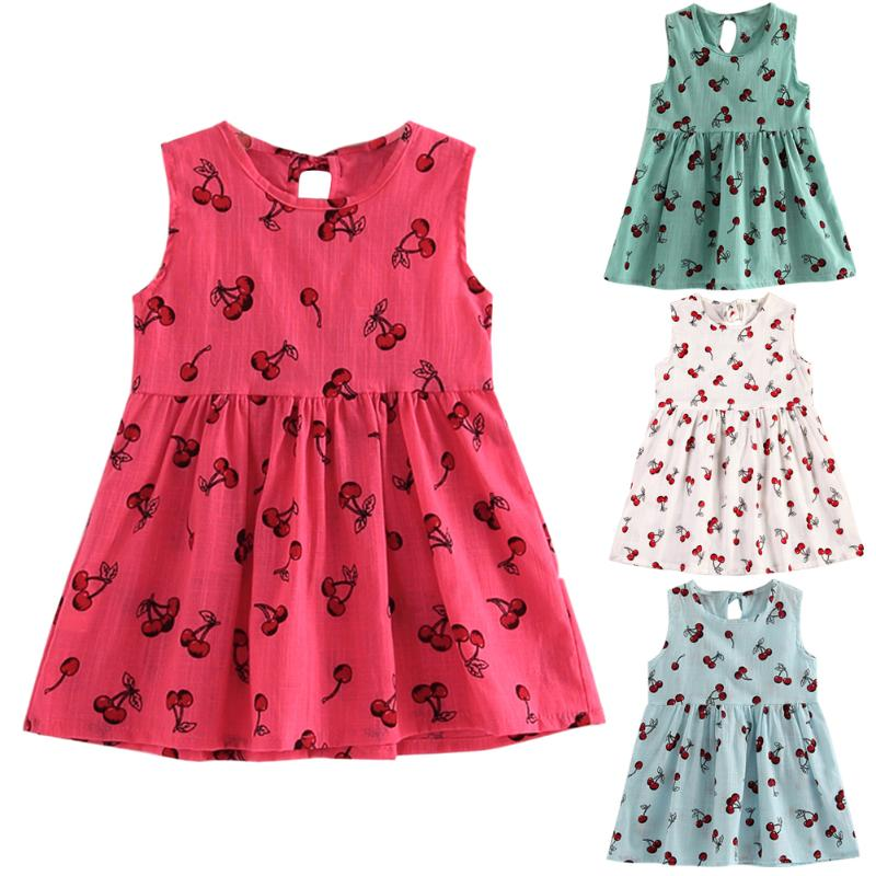 Cherry Baby Girls Dress Summer Children Girls Fruit Beach Sundress Princess Dress Sleeveless Clothes for 2-8Y