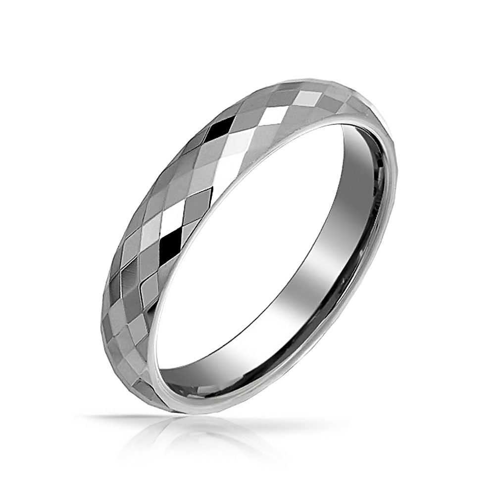 Poliert Multi-Faceted Hartmetall Versprechen Ring Jahrestag Hochzeit Band Mode Silber Schmuck
