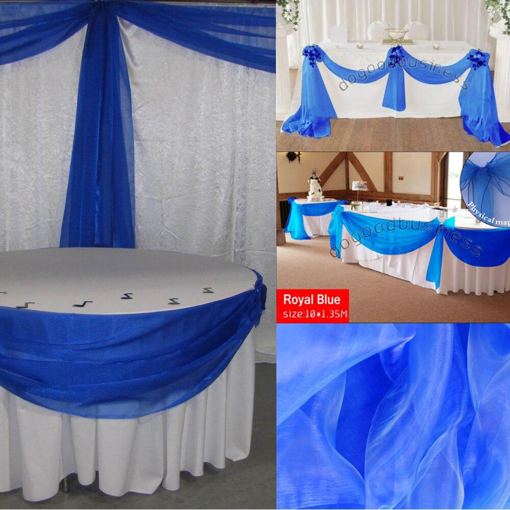 Royal Blue 10 mt * 1,35 mt Sheer Organza Swag Stoff hochzeit Partei Liefert dekoration Home Textilien durch freies verschiffen mit hoher qualit
