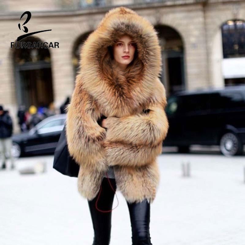 FURSARCAR Moda de Luxo Casaco de Pele de Raposa De Prata Real Casacos De Pele Genuína Mulheres De Couro Casaco de Inverno Quente Grossa 70 cm de Comprimento roupas