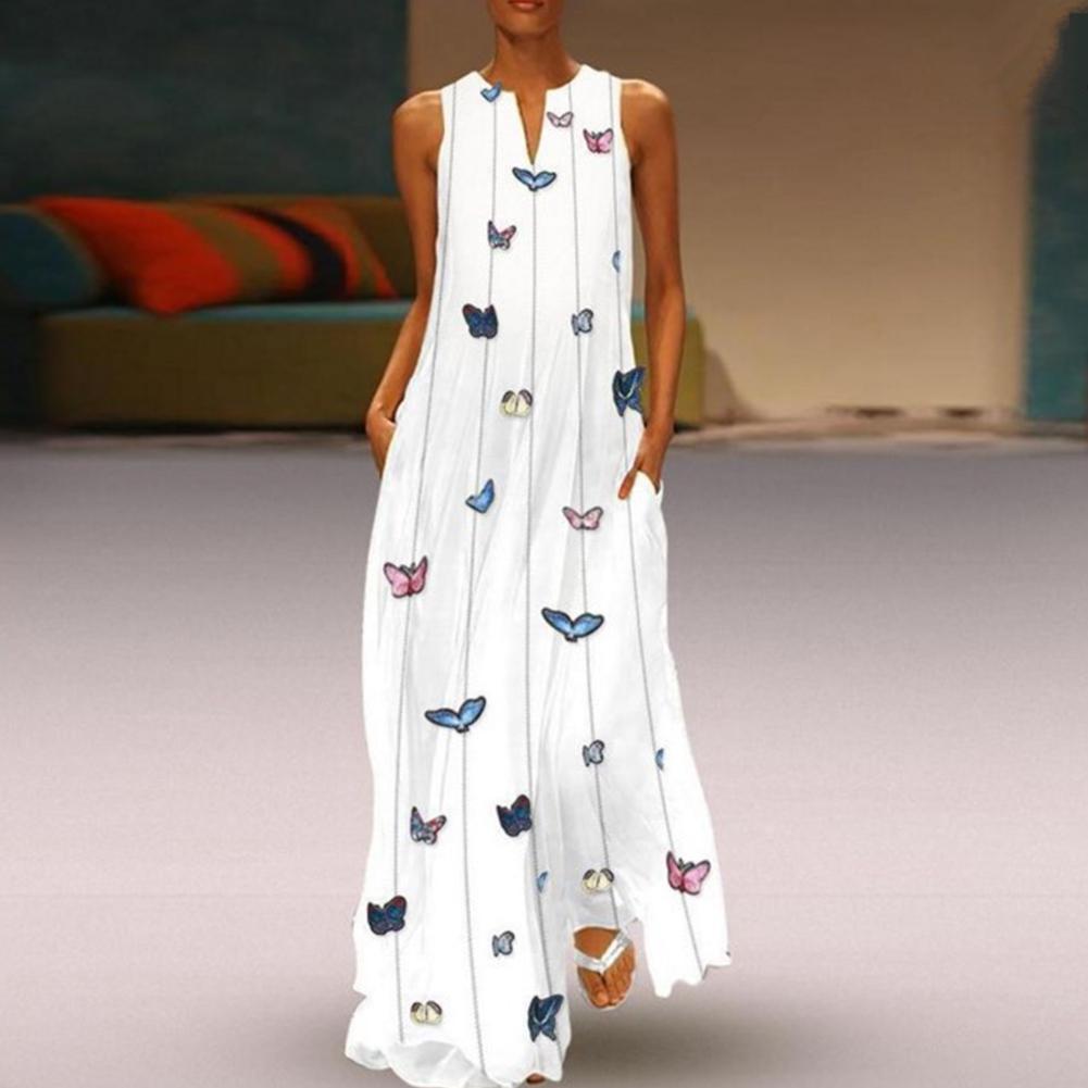 2019 New Yfashion Women Stylish Butterfly Print Dress V collar Sleeveless Summer Dress in Dresses from Women 39 s Clothing