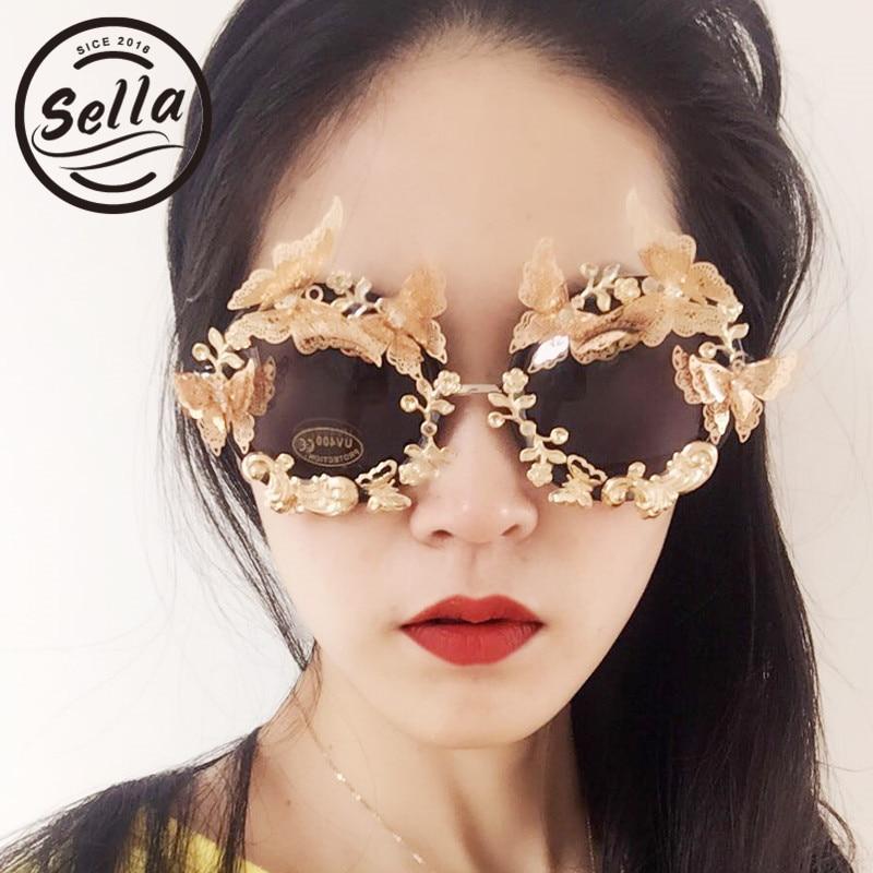 Sella 2017 de moda barroco en relieve mariposa flores gafas de sol de las mujeres personalizado Retro gafas de sol de gafas