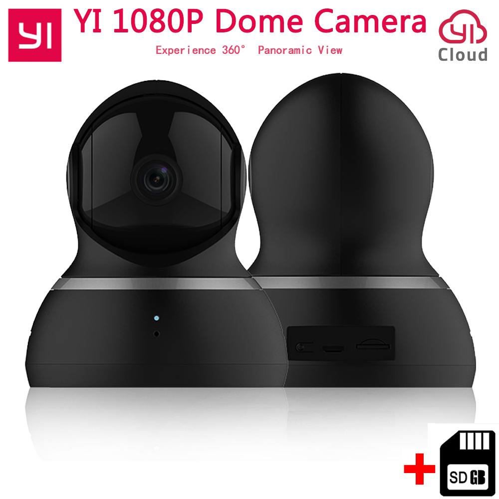 [International Edition]Xiaomi YI 1080p Dome IP Home Camera+32G Card 112″ Wide Angle 360″ View Pan-Tilt Control Night Vision Cam