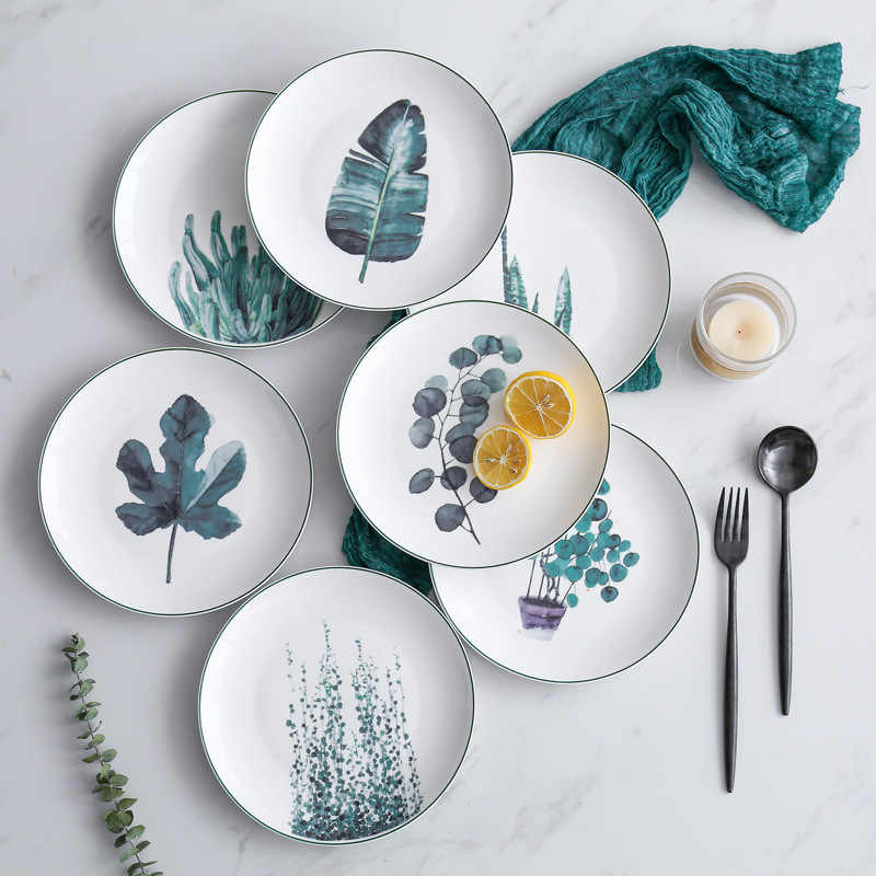 Creative Nordic Green Plant Ceramic Ornamental Plates Fashion Food Salad Steak Breakfast Round Tableware Dishes Cake Plate