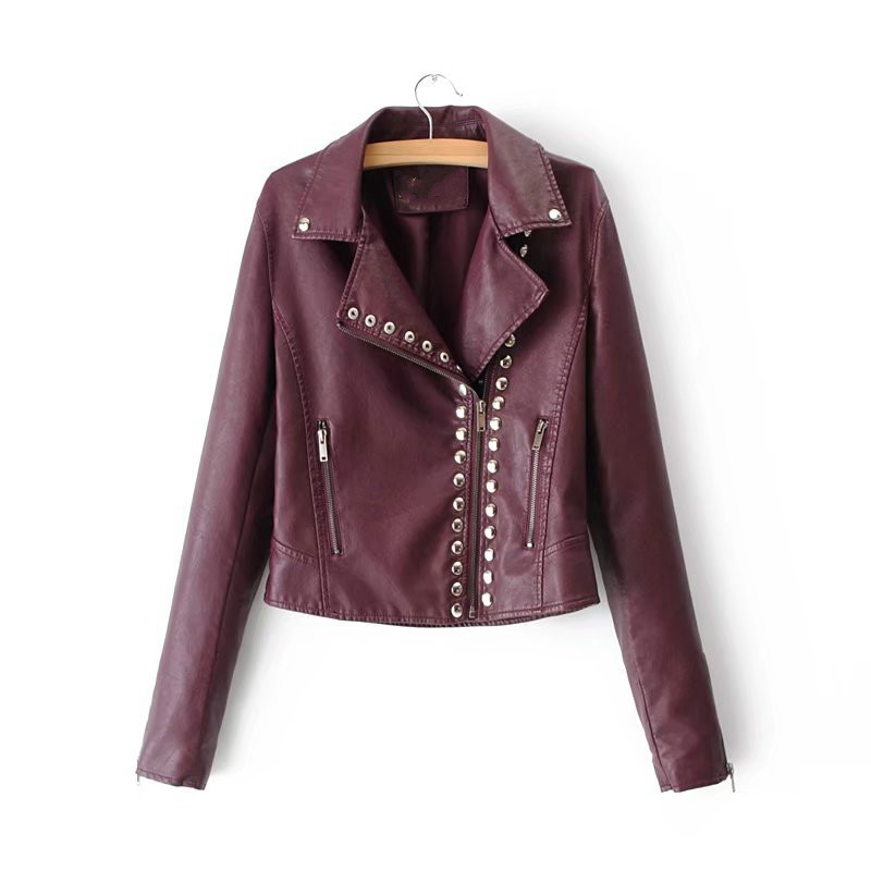 Leather   Clothing Women's 2018 Spring New Rivet   Leather   Jacket Slim Thin Short Paragraph Pu   Leather   Coat Women's Jacket S-XL