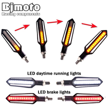 BJMOTO 24 LED Motorcycle Turn Signal Indicator Blinkers 12V Three-use Sequential DRL Flashing Brake Lights Warning Lamp