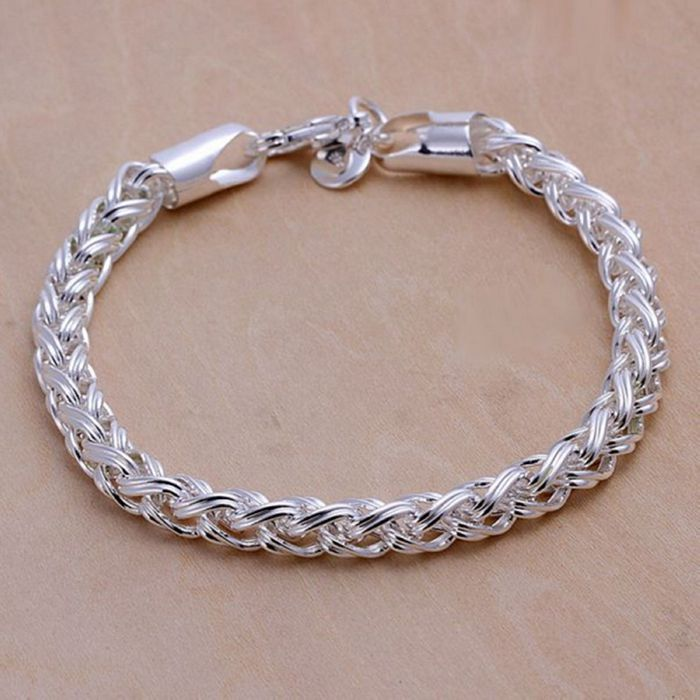 a77469ab62310 US $1.79 10% OFF|H070 silver fashion jewelry 925 jewelry silver plated  bracelet Twisted Bracelet /NOBHXAWQ OYWWEVRV-in Chain & Link Bracelets from  ...
