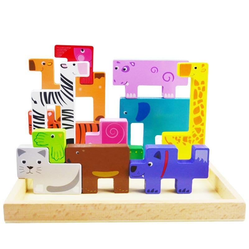 3D Puzzle en bois jouets pour enfants animaux innovants jouet éducatif drôle jouet pour bébé enfants garçon fille cadeaux