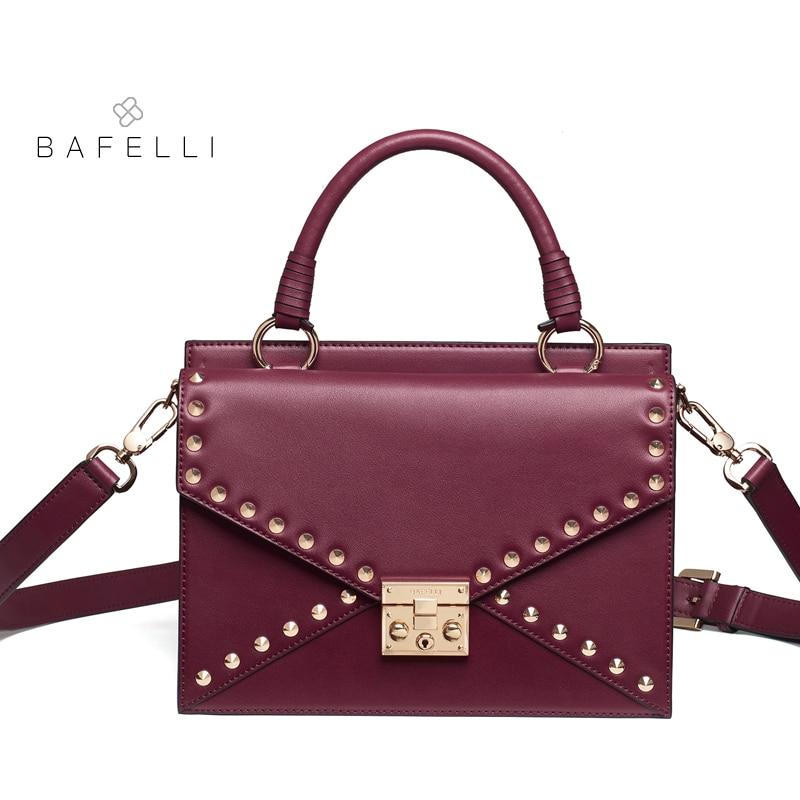 BAFELLI new arrival split leather shoulder bag vintage rivet satchels crossbody bag caramel color bolsa feminina women bag цена и фото