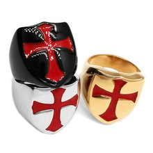 Armor Shield Knight Templar Red Cross Ring Stainless Steel Jewelry Medieval Signet Retro Vintage Biker Ring Wholesale SWR0684