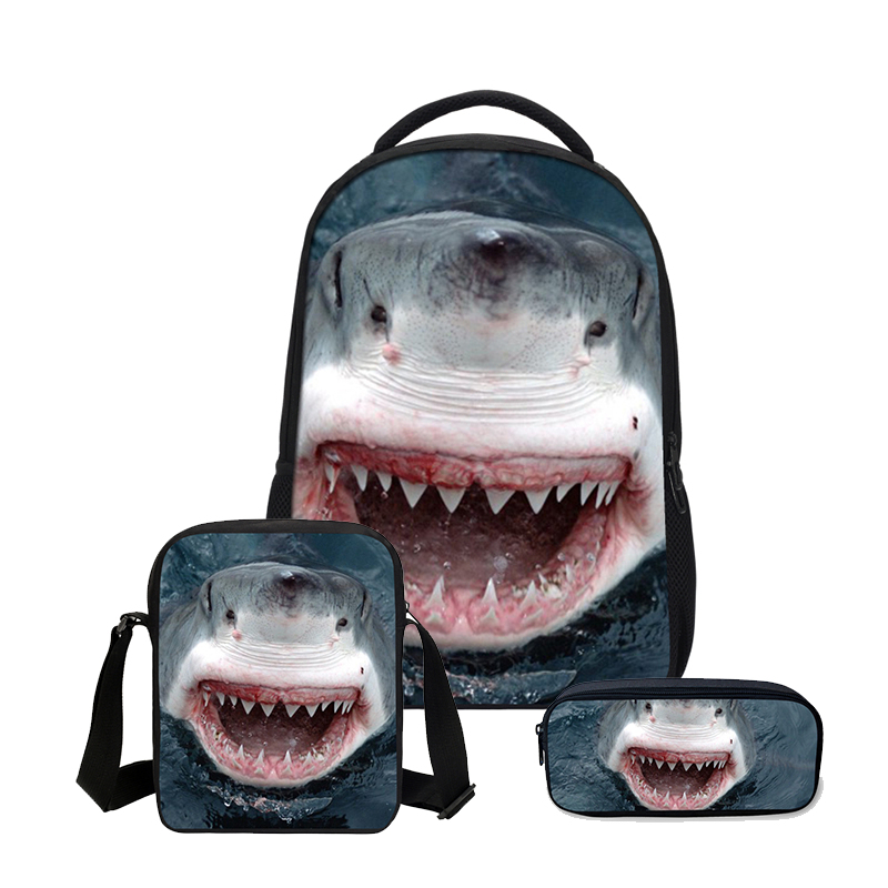 3 PCS/SET School Bags Shark Printed Bookbag  Backpacks Cool Children Shoulder Bag Boys Canvas Backpack