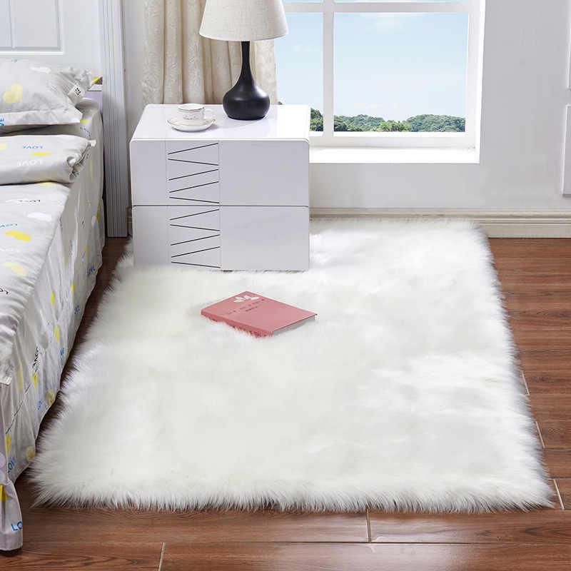 Cilected צמר חיקוי כבש שטיח לבן כחול ורוד כיכר מלאכותי ארוך שיער רך מחצלת חלון חלון שינה מחצלת 30x30CM