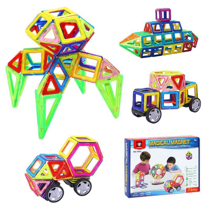 71pcs Cartoon Car Puzzle 3D Model magnetic block toy DIY building single bricks parts accessory constructor Educational Toys
