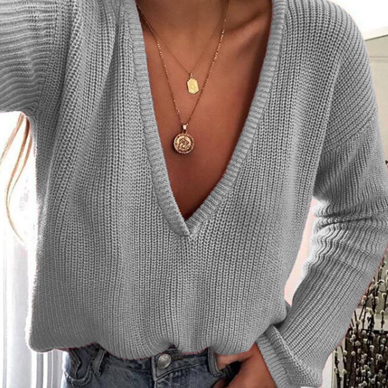2019  autumn and winter hot sale sexy women sweaters computer knitted cute comfortable pullover v-neck female sweaters