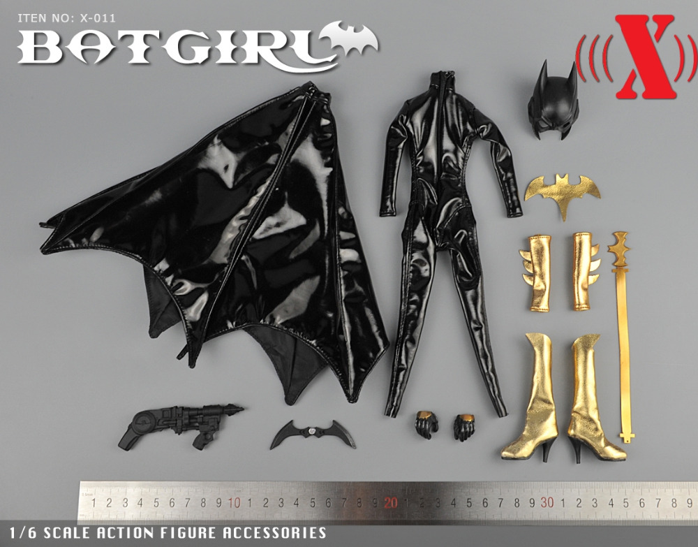 1/6 Scale BatGirl Black Leather Jumpsuit Mask Version X011 For 12 Inches Female Action Figures Bodies Accessories 1 6 ghost rider black leather jacket pants set models for 12 inches male action figures bodies accessories