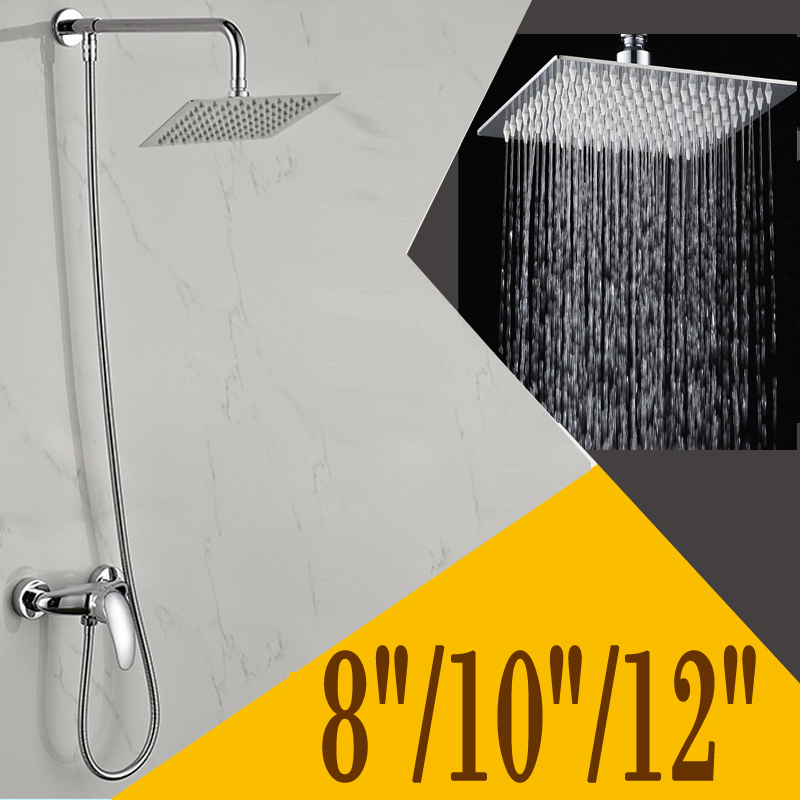 8/10/12 inch Rainfall Hot Cold Water Shower Faucet Set Single ...
