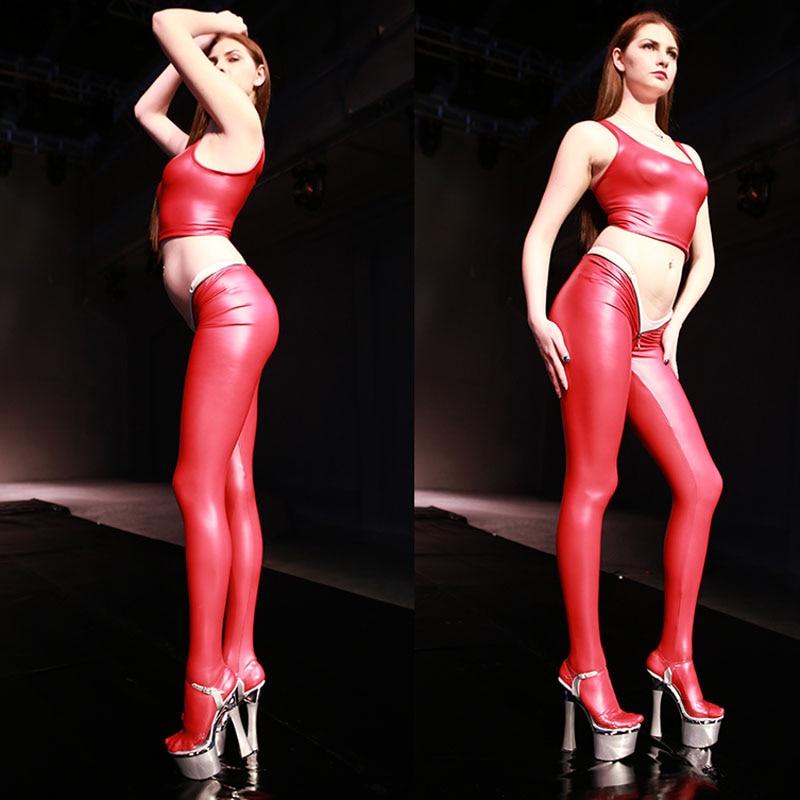 Glazed Leather Latex Shiny Zip Low Waist Pantyhose Women Sexy Capris S-XXL Oversize Moto Biker Trousers Club Stage Shiny Legging