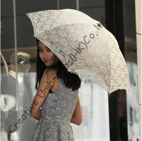 Beige Double Embroidery lace fabric,100%sunscreen,UPF>50+,parasol,8k ribs,manual windproof,pricess parasol,cherry,wooden handle