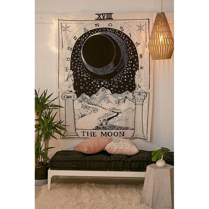 India Witchcraft Tarot Tapestry Wall Hanging Sun Moon Wall Tapestry Witchcraft Supplies Psychedelic Boho Decor Wall Cloth Tapiz