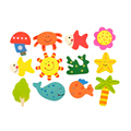 2016 New 12pcs 1Set Colorful Kids Baby Wood Wooden Cartoon Pattern Fridge Magnet Educational Toy Gift Hot