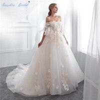 Sapphire Bridal Vintage Wedding Dress For Brides Lace Appliques White Ivory Dubai Vestido De Novia Off The Shoulder Bridal gowns
