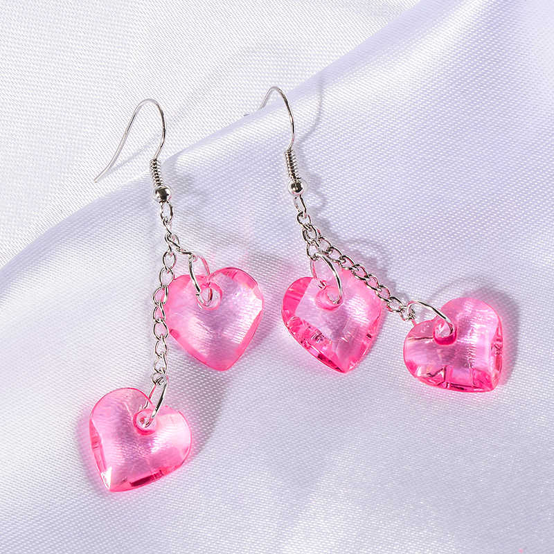 SHUANGR Fashion Heart Shape Pink color Bohemia jewelry Long Earrings dangle  earrings For Women Ladys gift brincos|dangling earrings for women|earrings  dangledangle earrings - AliExpress