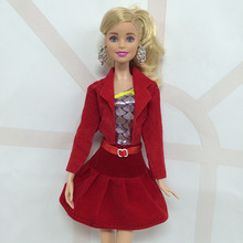 New Arrive 1 X Red Doll Handmade 3 Parts Suit Coat Clothes font b Dress b