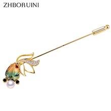 ZHBORUINI Fine Jewelry Natural Freshwater Pearl Brooch Chinese Style Gradual Crystal Goldfish Pins Women