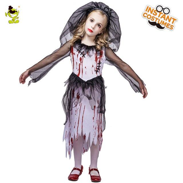 Neue Kinder Halloween Horror Blutigen Braut Party Kostüme Geist Braut Cosplay Kostüm Mädchen Blut Kleid maskerade vampire kleidung
