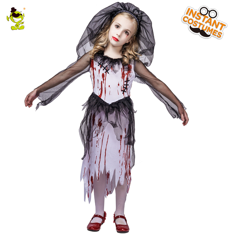 2e2bb1a741c6 New Kids Halloween Horror Bloody Bride Party Costumes Ghost Bride Cosplay  Costume Girls Blood Dress masquerade vampire clothes