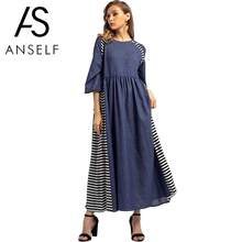 Anself Vintage Women Muslim Dress Contrast Color Denim Striped Splicing Robe Femme O Neck Half Sleeve Mid East Maxi Long Dress(China)