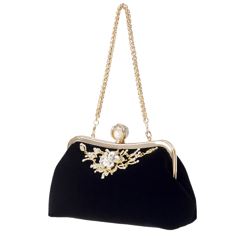 JHD-Female Diamond Pearl Handbag Vintage Crystal Flower Evening Bag Wedding Party Bride Clutch Bag Purse