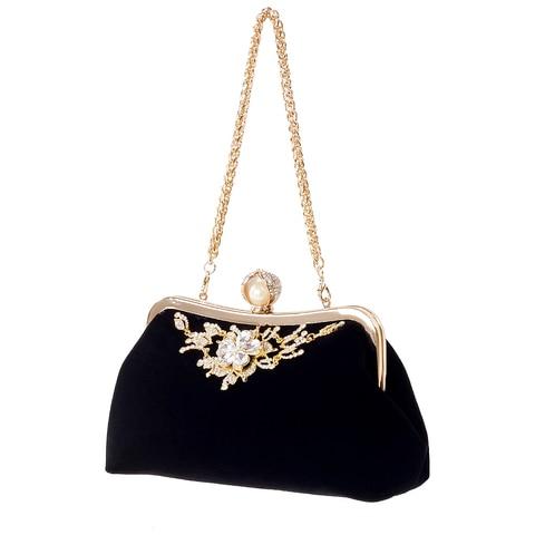 Bolsa de Cristal do Vintage Bolsa de Noite Festa de Casamento Bolsa de Embreagem Jhd-feminino Diamante Pérola Flor Noiva