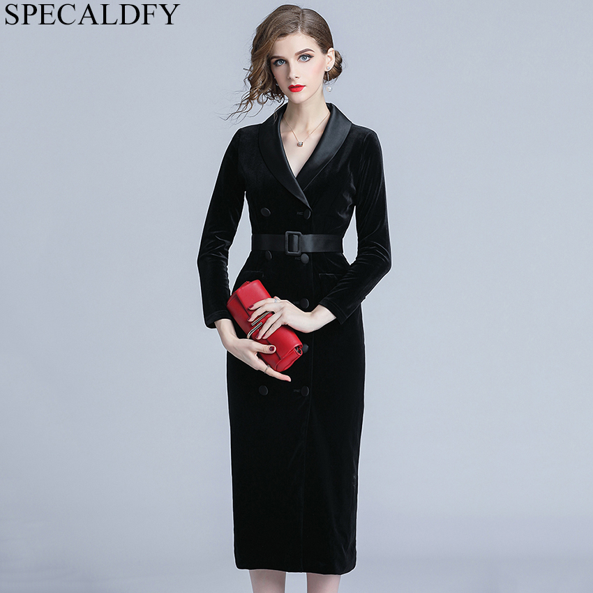ea0928acbea0c Ladies Office Dresses Women Vintage Red Black Velvet Dress Autumn Winter  Bodycon Sheath Dress Designer Runway