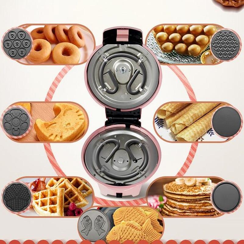 220 В многофункциональный электрический торт вафельница пончик креп выпечки машина с 7 пластин для бытовой Завтрак машина ...